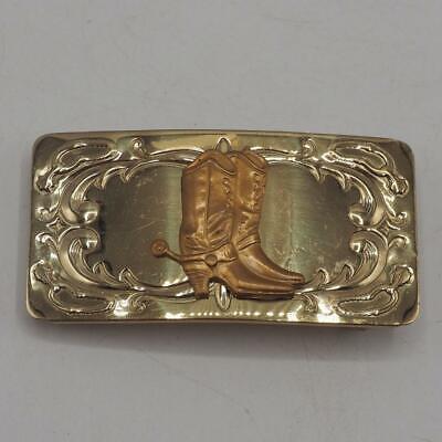 Silber Schnalle Stiefel (Gürtelschnalle Nickel Silber W / Goldton Cowboy Stiefel und Sporen Chambers Vtg)
