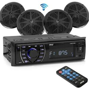 "Package from PYLE PLMRKT48BK Bluetooth Marine Audio System Receiver Stereo & 6.5"" Speaker Kit - (4 Speakers)"