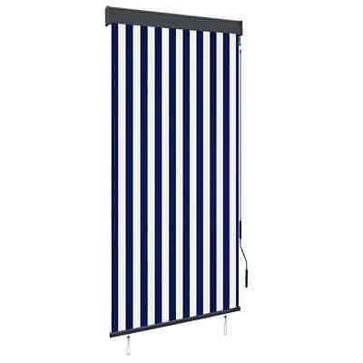 vidaXL Outdoor Vertical Roller Blind 100cm Blue and White Balcony Shade Screen