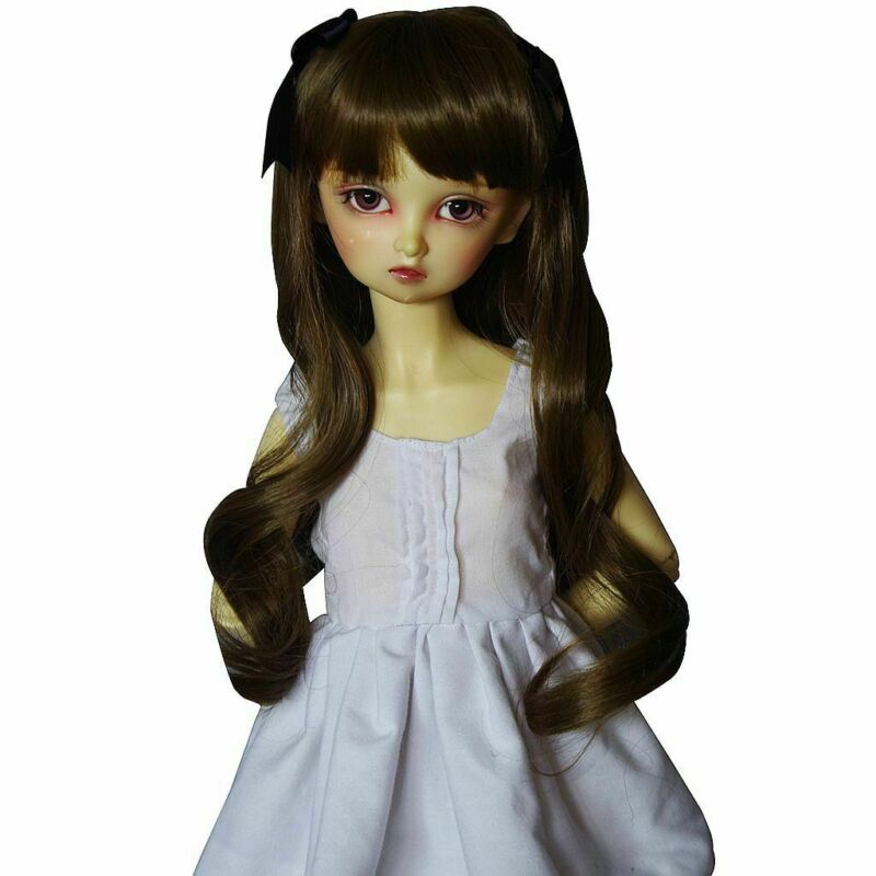 [PF] 97# Dark Brown Long Wave Wig Knot 1/3 SD AOD DOD DZ BJD Dollfie 8-9""