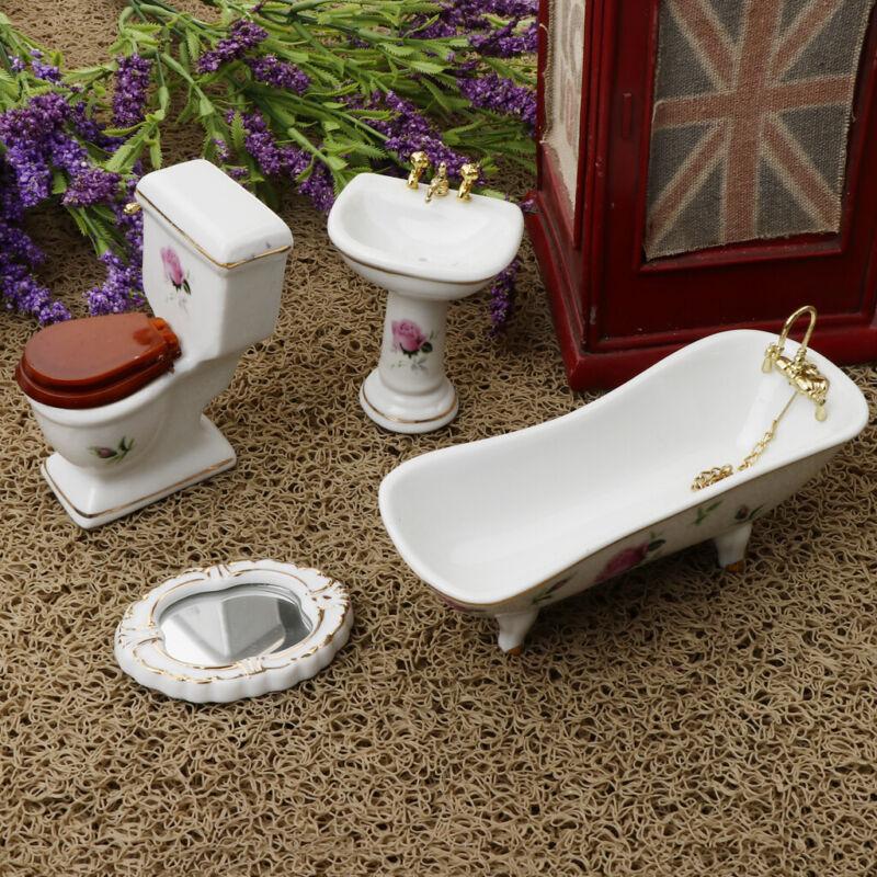 1/12 Dollhouse Porcelain White Bathroom Suite Furniture Set Toilet Sink Mirror