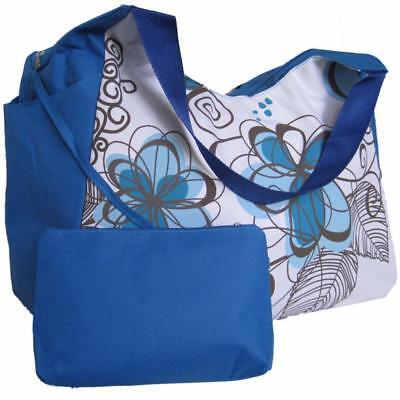 Large Beach Bag Blue Flowers with Side Pockets, big tote holiday huge shoulder   ()