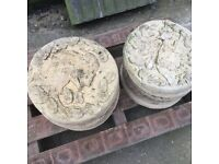Quantity of reclaimed circular stepping stones