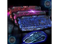 Illuminated USB Wired Gaming Keyboard and Mouse Bundles Set