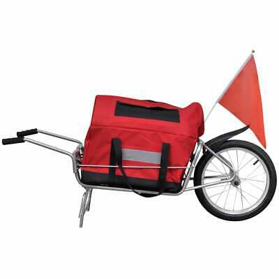 vidaXL Rimorchio bici bicicletta trasporto cicloturismo carrello con ruota borsa