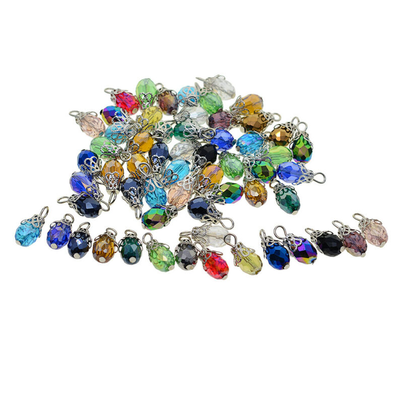 50x Glass Pendants Faceted Shiny Jewelry Making Charms For Phone Chain