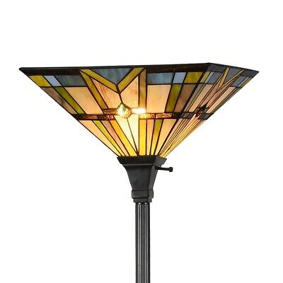 Glass Torchiere Floor Lamp - Tiffany Style Stained Glass Mission Torchiere Floor Lamp 14