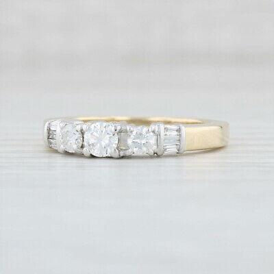 58ctw Diamond Anniversary Ring 14k Yellow White Gold Size 7.5 Three Stone