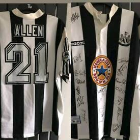 Malcolm allen match worn squad signed nufc newcastle united shirt.
