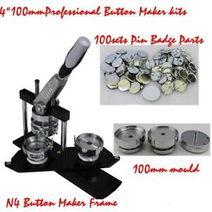 "PRO ALL METAL DIY 4"" Button maker kit!! Badge Maker+100 Pin back Button 015341"