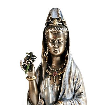 "KWAN YIN STATUE 14.5"" Buddhist Goddess Lotus HIGH QUALITY Guan Quan Bronze Resin"