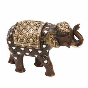 NEW Wooden Effect Elephant Statue Ornament Figurine 60257