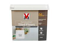 V33 Renovation White Satin Tile Floor Paint 2L from B&Q Cost £42. Sealed unopened.