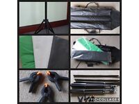 Photography Background Kit inc 2 Tripod Stands, 3 Cross Poles, 3 clamps, 3 Backdrops and Carry Case