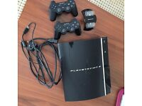 SONY PS3 PLAYSTATION 3 BLACK 40GB 2 X CONTROLLERS VGC DVD BLURAY ALL CABLES INC HDMI ETC