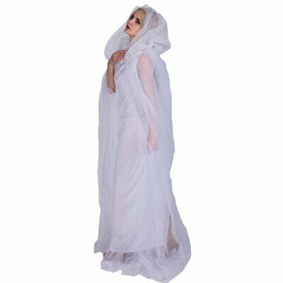 Bride Costume For Women (Women's Ghost Costume Bride White Hooded Cape Cloak Adult Costume Outfits)