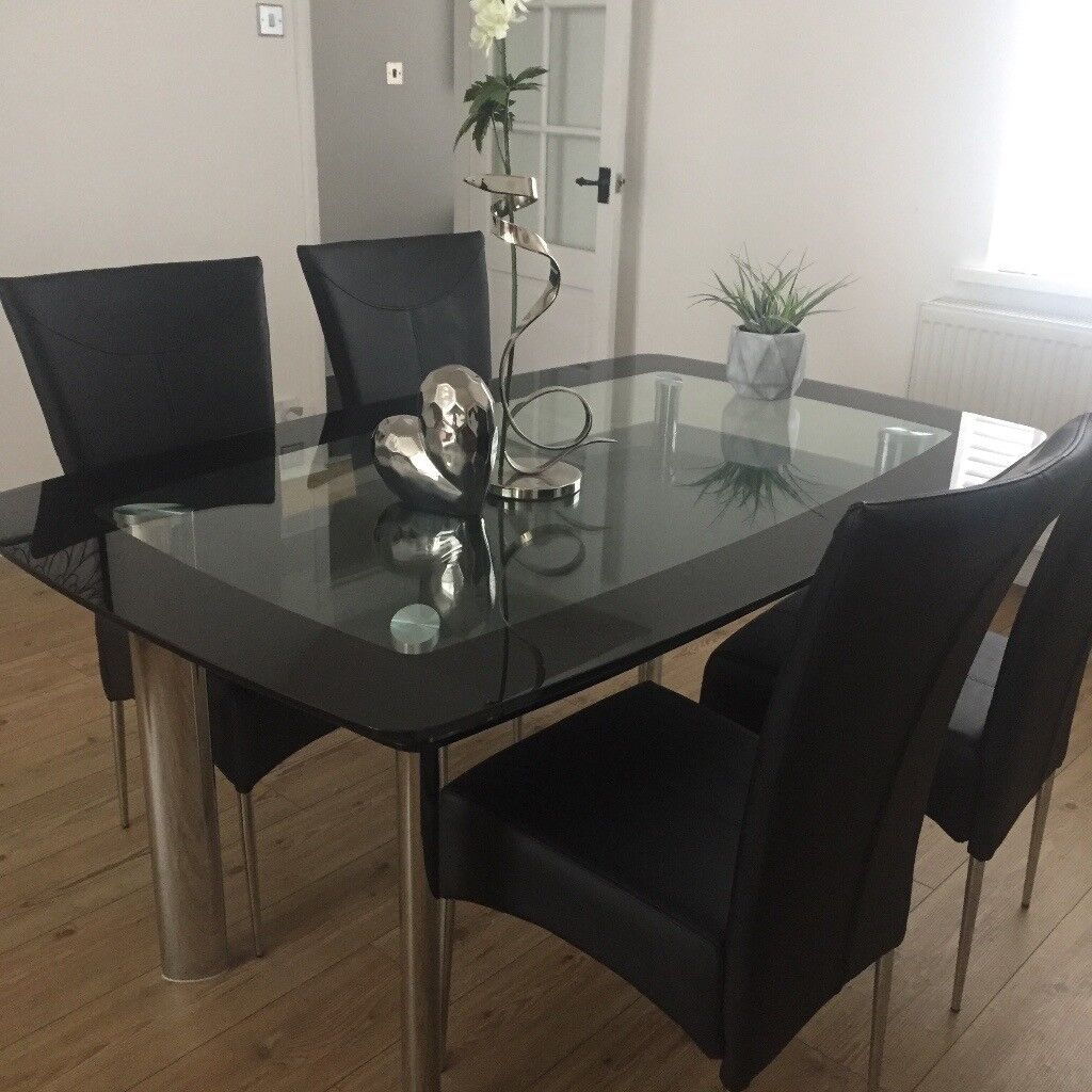 Smoked Glass With Black Glass Edge Dining Table (two Tiers Of Glass) And 4