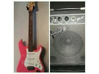 Full Size Electric Guitar and Squier Amp