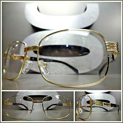 CLASSIC VINTAGE RETRO Style Clear Lens EYE GLASSES Gold & Black Fashion Frame