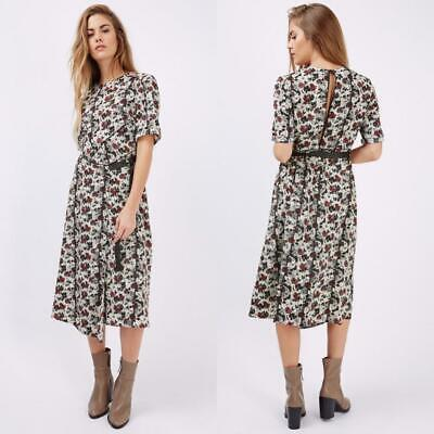 NEW TOPSHOP Retro FESTIVAL Ribbon Belt SCRATCH Floral MIDI Slit Back DRESS US - Ribbon Back Dress