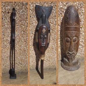 2x Wooden Carved African mask 1x 1 mtr tall statue