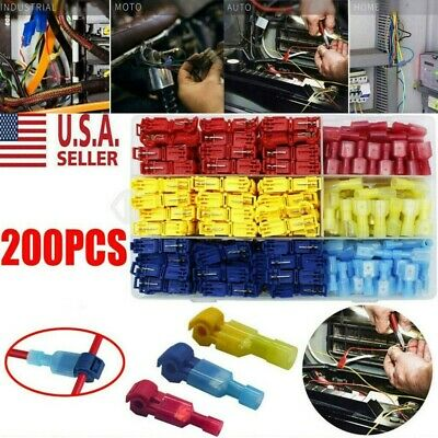 Insulated 22-10 AWG T-Taps Quick Splice Wire Terminal Connectors 200pc Combo Kit