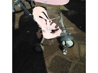 Smart Trike, pink, reclines with parent handle