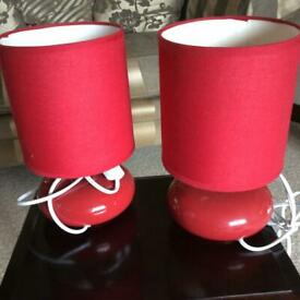 2 small red lamps complete with base & shades & bulbs