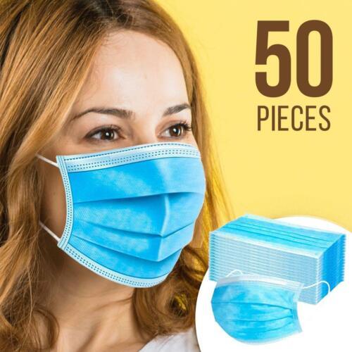 USA Seller 50 PCS Face Mask Mouth & Nose Protector Respirator Masks with Filter!