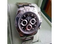 Silver Rolex Silver bezel  Black Face Comes Rolex Bagged and Boxed with Paperwork
