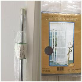 Extendable no-drill tension curtain pole & sheer silver grey tab top curtain panels, NEW