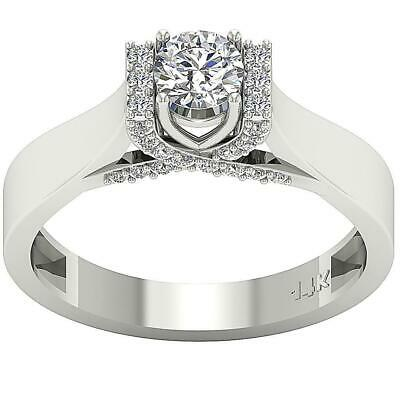 Solitaire Engagement Ring 1.01 Ct SI1 G Round Cut Diamond 14K White Gold 6.00 mm - Ideal Cut Diamond Solitaire Ring