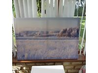 Winter landscape print on canvas on wooden frame