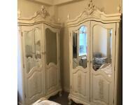Shabby chic mirrored wardrobe