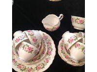 Vintage Colclough fine bone china, trios, cake plate, jug and sugar bowl.