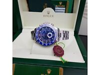 New boxed mens silver bracelet blue face blue bezel Rolex yachtmaster II automatic movement