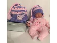 Stunning girls winter hat with matching dolls hat
