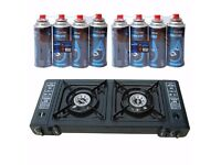 BRAND NEW SEALED PORTABLE OUTDOOR DOUBLE GAS STOVE DUAL 2 BURNER CAMPING COOKER WITH 8 GAS REFILLS