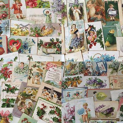 Huge Lot of 350+ Holidays Greetings Postcards DAMAGED- DECOUPAGE & SCRAPBOOKING!