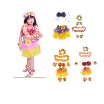 Kids Hawaiian Hula Grass Skirt with Flowers Set Costume Tropical Theme Party](Tropical Themed Costume)