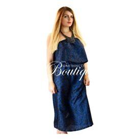 Womens bohemian summer/beach black & blue print silk style full length maxi dress