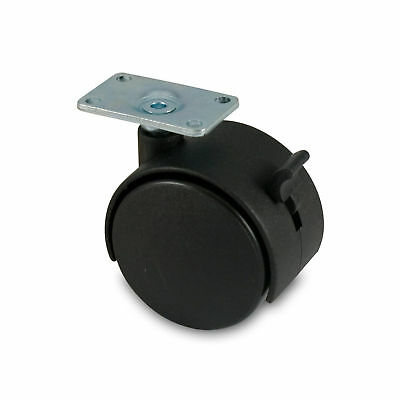 60mm Twin Wheel Nylon Caster With Brake And Top Plate