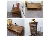 Large coffee table, lamp tables & CD holder