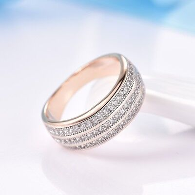 Women White Sapphire Rhinestone Crystal 18K Gold Filled Wedding Rings Band 6-9 Crystal Rhinestone Bridal Rings