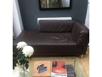 Brown leather Habitat chaise longue