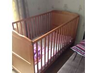 Pine full size cot with mattress immaculate condition