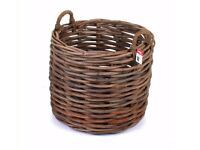Rattan Round Log Toy Storage Basket Fireside Wood Willow Wicker Woven (Large)