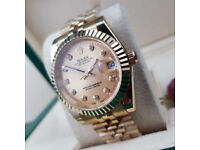 Rossco's Watches. Gold Rolex Jubilee Datejust with Gold Face and Diamonds. New and Boxed with Papers