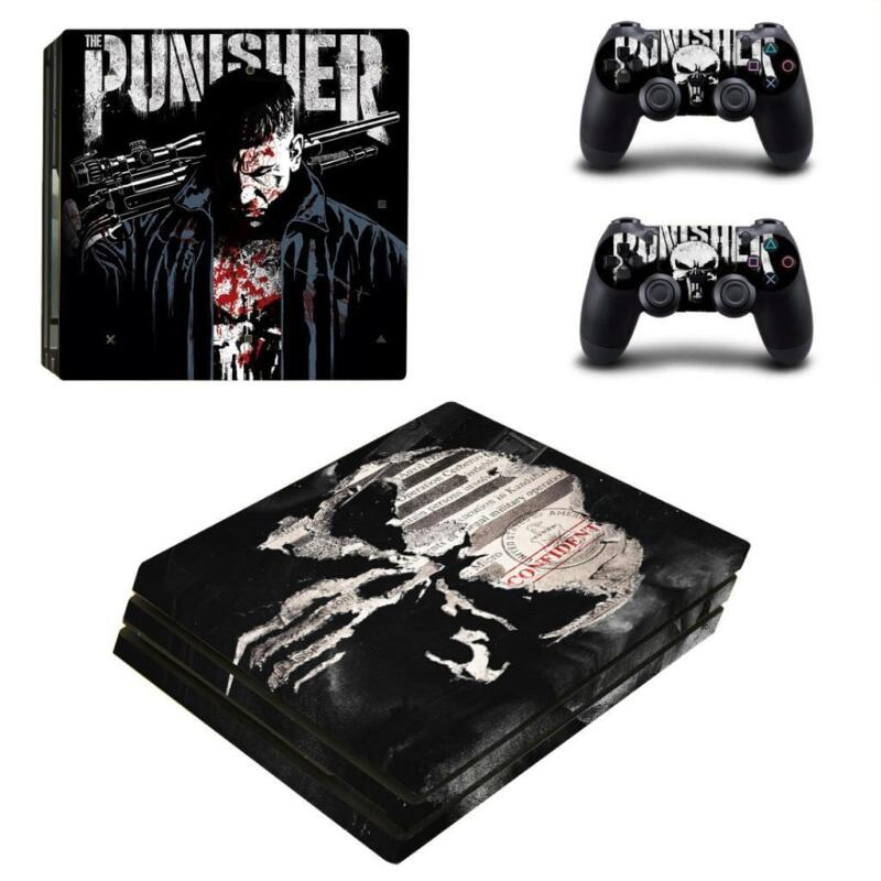 Punisher+Frank+Castle+PS4+Pro+Console+Skin+Decals+Vinyl+Skin+Sticker+Covers+Wrap