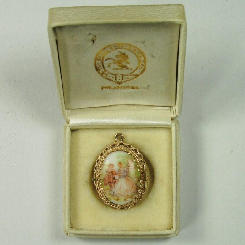VINTAGE14K YELLOW PENDANT/CHARM WITH HAND PAINTED CAMEO WEIGHT 5.5 GRAMS
